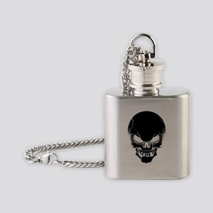 Black Skull Design Flask Necklace