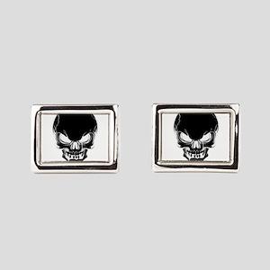 Black Skull Design Rectangular Cufflinks