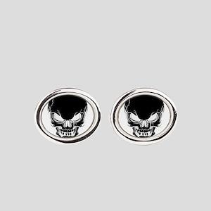 Black Skull Design Oval Cufflinks