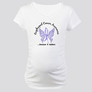 Esophageal Cancer Butterfly 6.1 Maternity T-Shirt