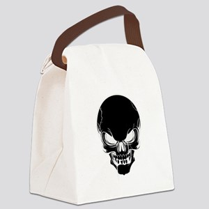 Black Skull Design Canvas Lunch Bag
