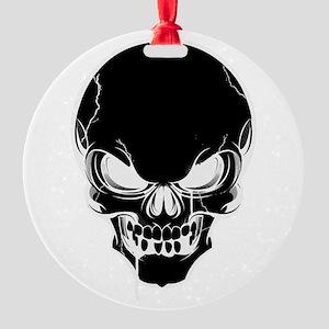 Black Skull Design Round Ornament