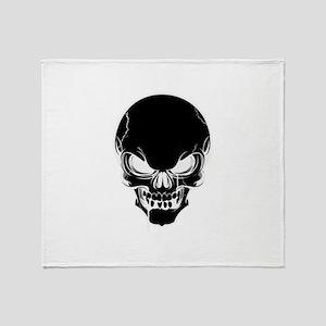 Black Skull Design Throw Blanket