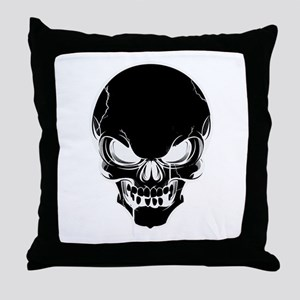 Black Skull Design Throw Pillow