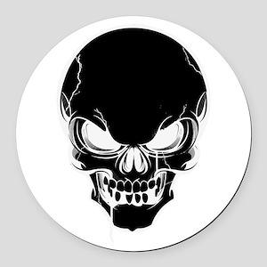 Black Skull Design Round Car Magnet
