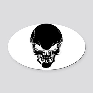 Black Skull Design Oval Car Magnet