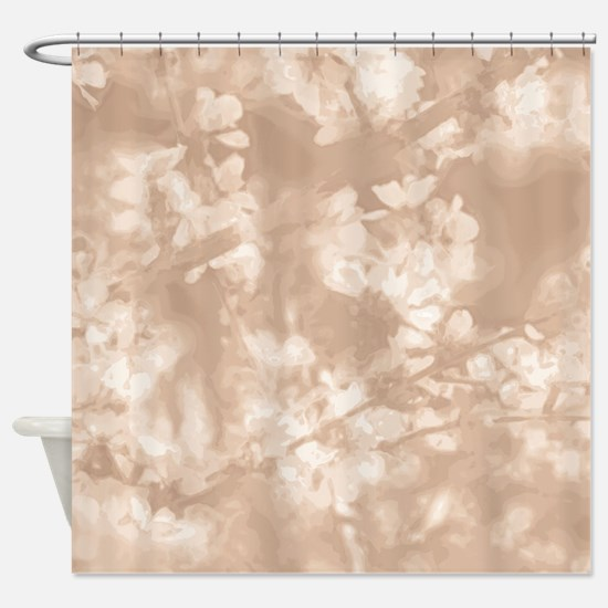 Spring Blossoms in Sandstone Shower Curtain