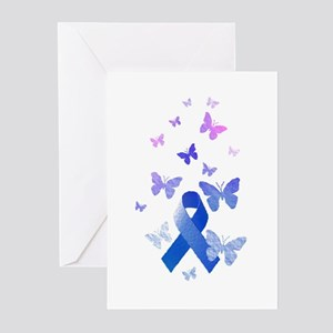 Blue Awareness Ribbon Greeting Cards