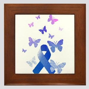 Blue Awareness Ribbon Framed Tile
