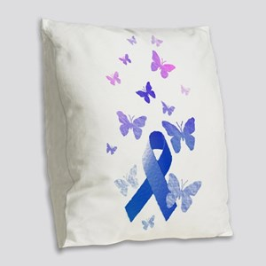 Blue Awareness Ribbon Burlap Throw Pillow