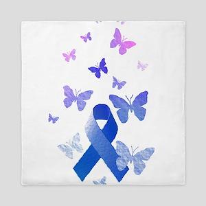 Blue Awareness Ribbon Queen Duvet