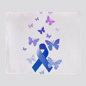 Blue Awareness Ribbon Throw Blanket