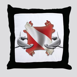 SCUBA Hammerheads Throw Pillow