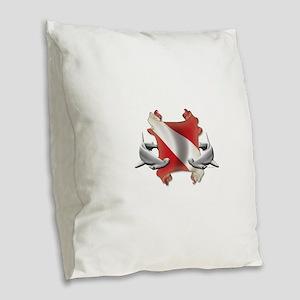 SCUBA Hammerheads Burlap Throw Pillow