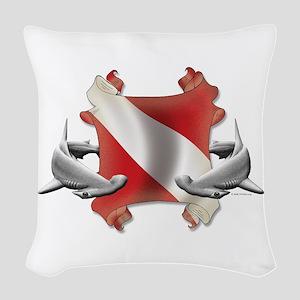SCUBA Hammerheads Woven Throw Pillow