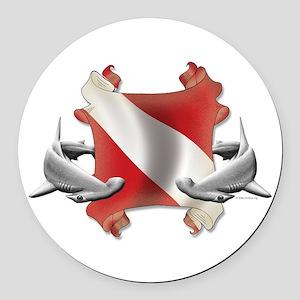 SCUBA Hammerheads Round Car Magnet