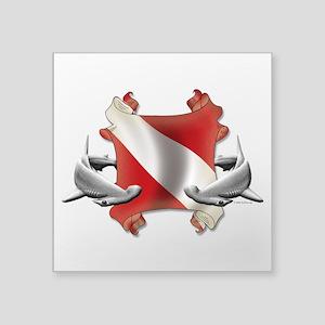 "SCUBA Hammerheads Square Sticker 3"" x 3"""