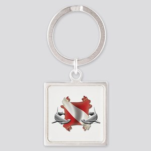 SCUBA Hammerheads Square Keychain
