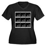 Hollywood Squares Women's Plus Size V-Neck Dark T-