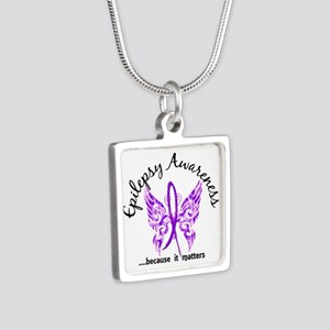 Epilepsy Butterfly 6.1 Silver Square Necklace