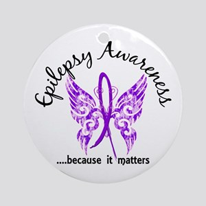 Epilepsy Butterfly 6.1 Ornament (Round)