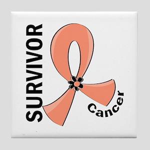 Endometrial Cancer Survivor 12 Tile Coaster