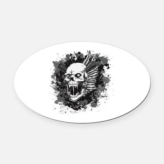 Skull VI Oval Car Magnet