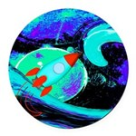 Rocket Ship Outer Space Round Car Magnet