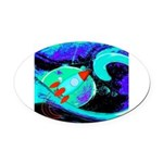 Rocket Ship Outer Space Oval Car Magnet