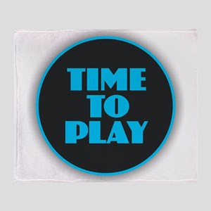 Time to Play - Blue Throw Blanket