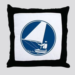 Sailing Yachting Circle Icon Throw Pillow