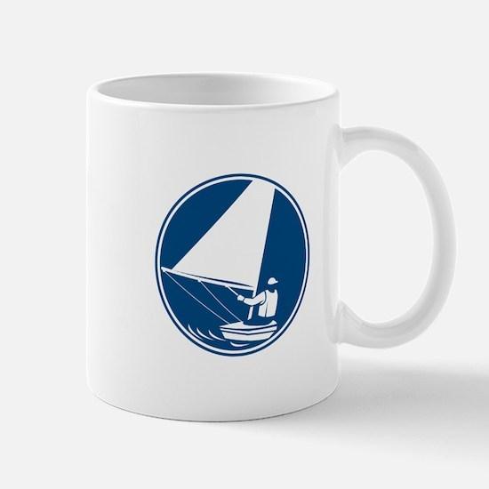 Sailing Yachting Circle Icon Mugs