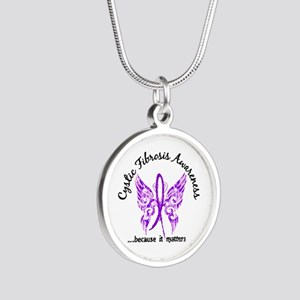 Cystic Fibrosis Butterfly 6. Silver Round Necklace