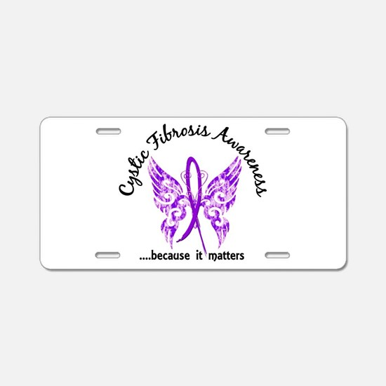 Cystic Fibrosis Butterfly 6 Aluminum License Plate