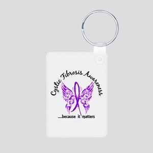 Cystic Fibrosis Butterfly Aluminum Photo Keychain