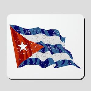 Cuba Flag (Distressed) Mousepad