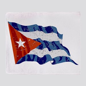 Cuba Flag (Distressed) Throw Blanket