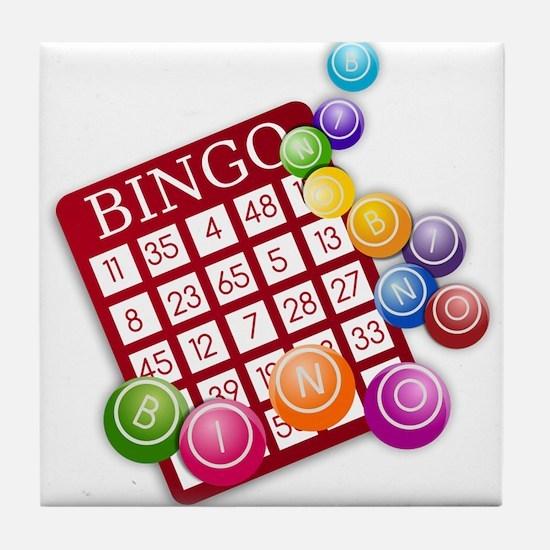 Las Vegas Bingo Card and Bingo Balls Tile Coaster