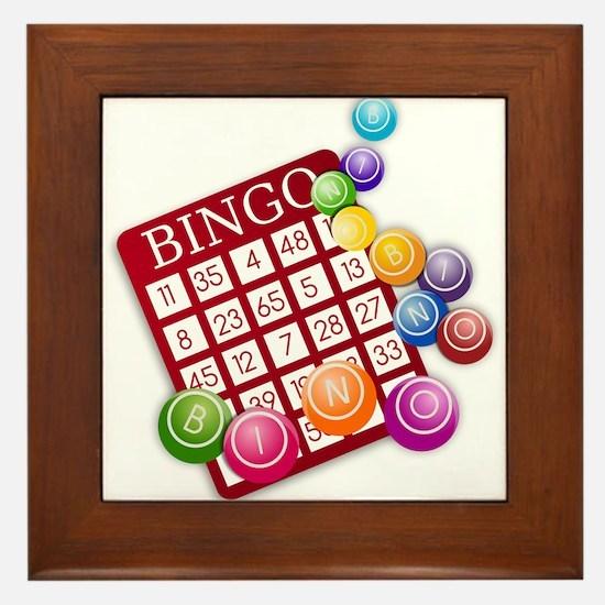 Las Vegas Bingo Card and Bingo Balls Framed Tile