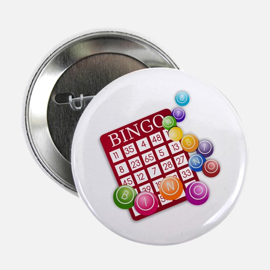 """Las Vegas Bingo Card and Bingo Balls 2.25"""" Button"""