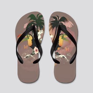 Funny toucans with palm and flowers Flip Flops