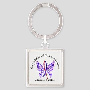Congenital Heart Disease Butterfly Square Keychain