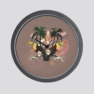 Funny toucans with palm and flowers Wall Clock
