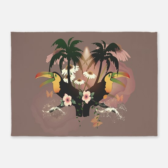 Funny toucans with palm and flowers 5'x7'Area Rug