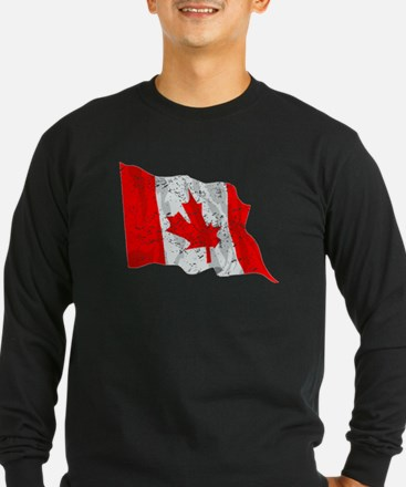 Canada Flag (Distressed) Long Sleeve T-Shirt