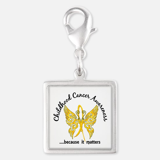 Childhood Cancer Butterfly 6. Silver Square Charm