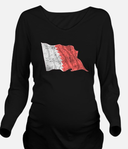 Bahrain Flag (Distressed) Long Sleeve Maternity T-