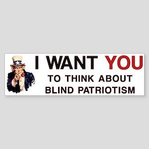 Uncle Sam Blind Patriotism Bumper Sticker
