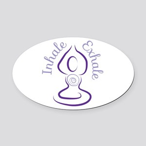 Inhale Exhale Oval Car Magnet