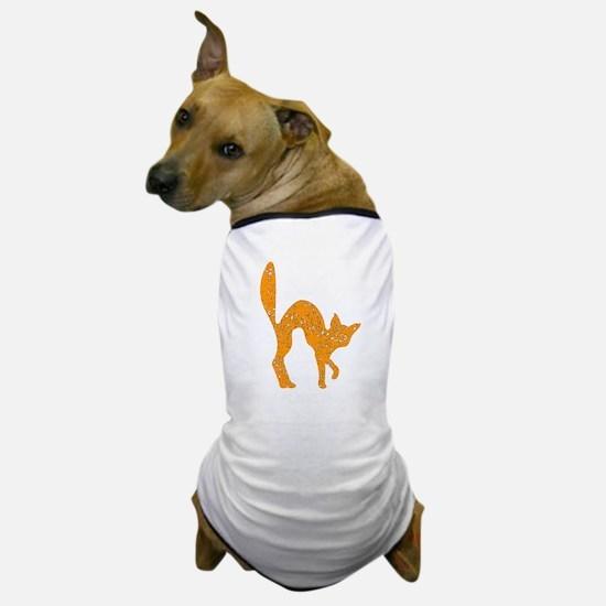 Distressed Orange Halloween Cat Dog T-Shirt